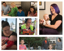 A collage of images of parents and children