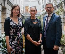 An image of the JWG ministers Genter and Lees-Galloway with Traci Houpapa