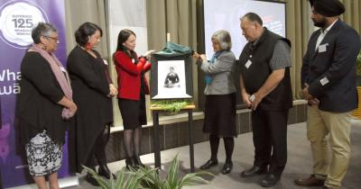Picture of the unveiling of the Meri Te Tai Mangakāhia portrait