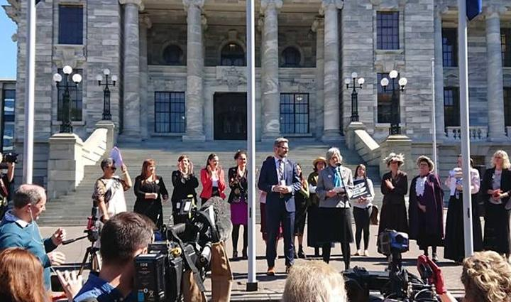 Ministers announcing the new Bill in front of Parliament