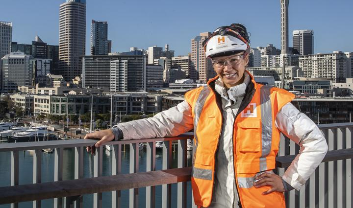 A picture of a woman construction worker in Auckland.